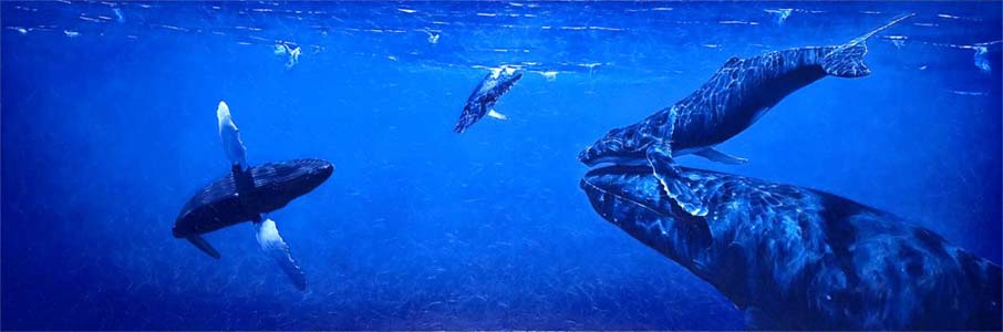 Souls of the sea, oil on canvas, 80 x 240 cm